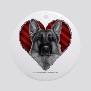 German Shepherd K9 Valentine Ornament (Round)